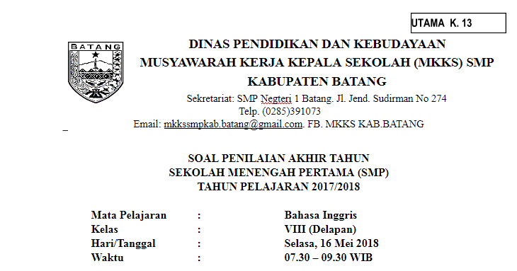 Download Soal Pas Pat Bahasa Inggris Kelas 8 Smp Mts Kurikulum 2013 Kurtilas Giri Widodo