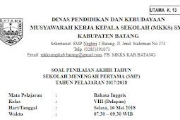 Download Soal PAS/PAT Bahasa Inggris  Kelas 8 SMP/MTs Kurikulum 2013 (Kurtilas)