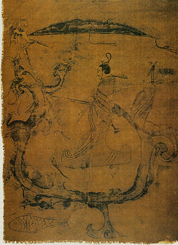 Silk painting depicting a man riding a dragon, (5th-3rd century BC)