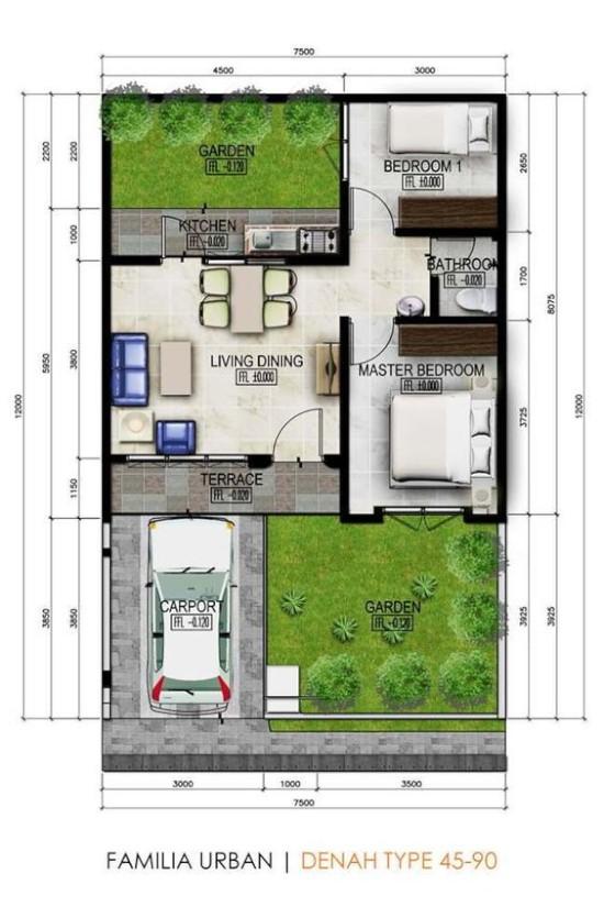 denah rumah minimalis dengan lebar 7 meter 1 lantai