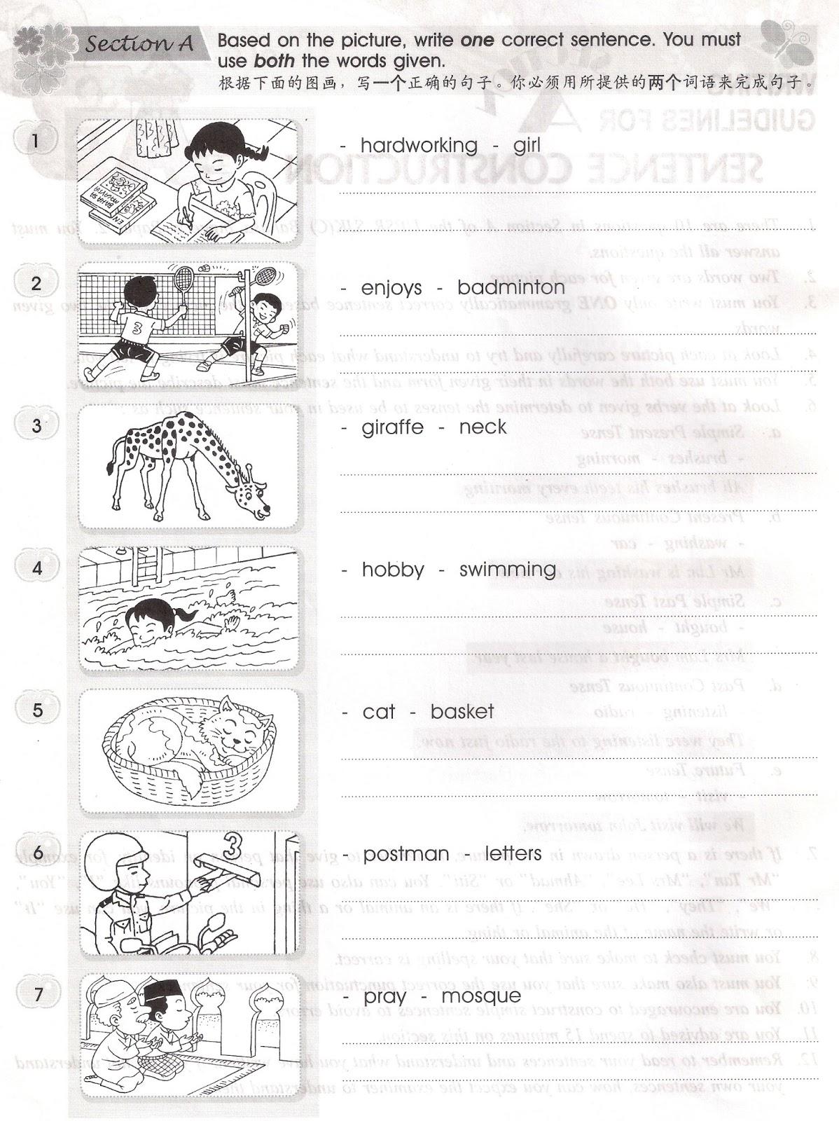 English Exercises Year 4 Sjk