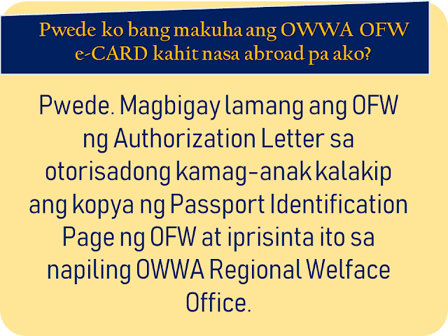 """The overseas Filipino workers (OFW) has long been waiting for the iDOLE card which was promised by the Department of Labor and  Employment (DOLE). It is said to replace the hassle and lengthy queues in applying for overseas employment certificate (OEC) and make the lives of the OFWs easier. With the release of the iDOLE being canceled due to lapses in implementation, the Overseas Workers Welfare Administration (OWWA) is now releasing a new ID for OFWs which is called the OWWA OFW e-Card. What is it and how to get it? In this article, we provided you with some vital information about the card as well as how and where the OFWs can get it.     Ads     Sponsored Links    What is OWWA OFW e-CARD?   OWWA OFW e-Card is proof of being an active OWWA member and aims to hasten access to OWWA programs and services. It is also recognized as a government-issued ID that can be used or presented in any transactions with Philippine Overseas Labor Office (POLO) or consulates and embassies abroad should an OFW need to avail assistance.    Who can apply for the OWWA OFW e-CARD?   All """"balik-manggagawa"""" with an active OWWA membership, valid Overseas Employment Certificate / Exemption Number and valid passport may apply for OFW e-CARD. Note that your OWWA membership must be valid for more than 90 days from the day of your application to get an OFW e-CARD.   Can the newly deployed OFWs apply?   Currently, the OWWA OFW e-CARD is in Phase 1 only so Balik-Manggagagawa will first be given the first. The next month will also launch Phase 2 of the OFW E-Card where other active OWWA members who are not included in Phase 1 may also apply for the OWWA OFW e-Card.   Who are the Balik-Manggagawa?   According to the POEA Rules and Regulations, Balik-Manggagawa is an OFW who completes or currently completes the employment contract and:   a. Returning to the same employer/employer in the former workplace   b. Returns to the same employer/employer in the new workplace.   New hires, direct hires, and th"""