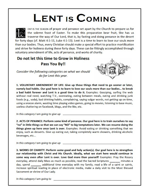RORATE CÆLI: Lent is coming: Time to prepare Printable Lent worksheet