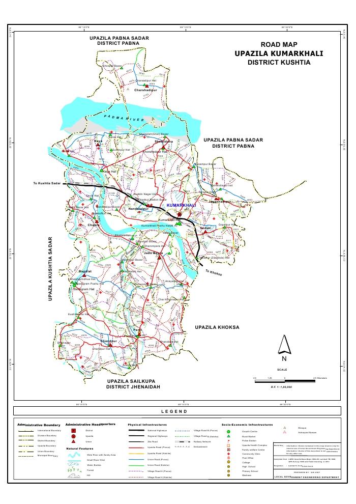 Kumarkhali Upazila Road Map Kushtia District Bangladesh