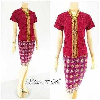 Model Baju Rok Blouse Batik Modern Velisa06 merah