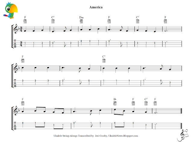 Jeri\'s YOUkulele Notes: America Melody and Chords, Staff and Tab