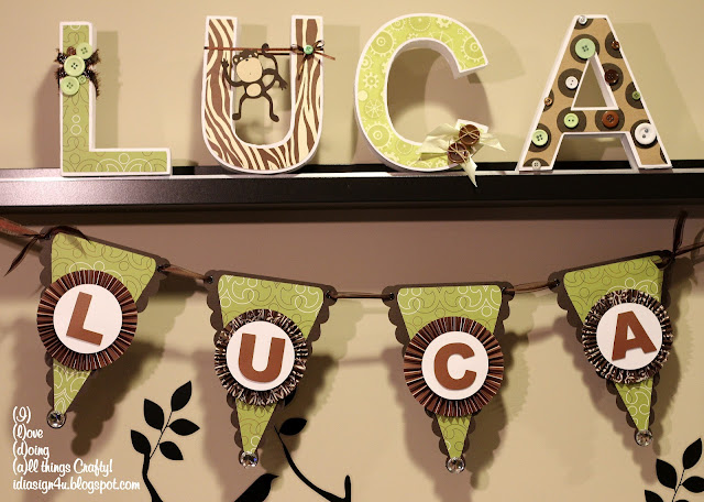 Monkey Themed Baby Shower 3D Letters and Banner by ilovedoingallthingscrafty.com