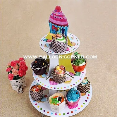 3 Tier Cake Stand Motif Cup Cake