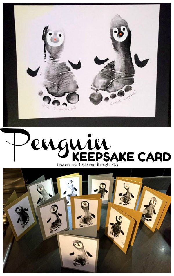 Penguin Christmas Cards Footprint.Learning And Exploring Through Play Penguin Foot Print Cards