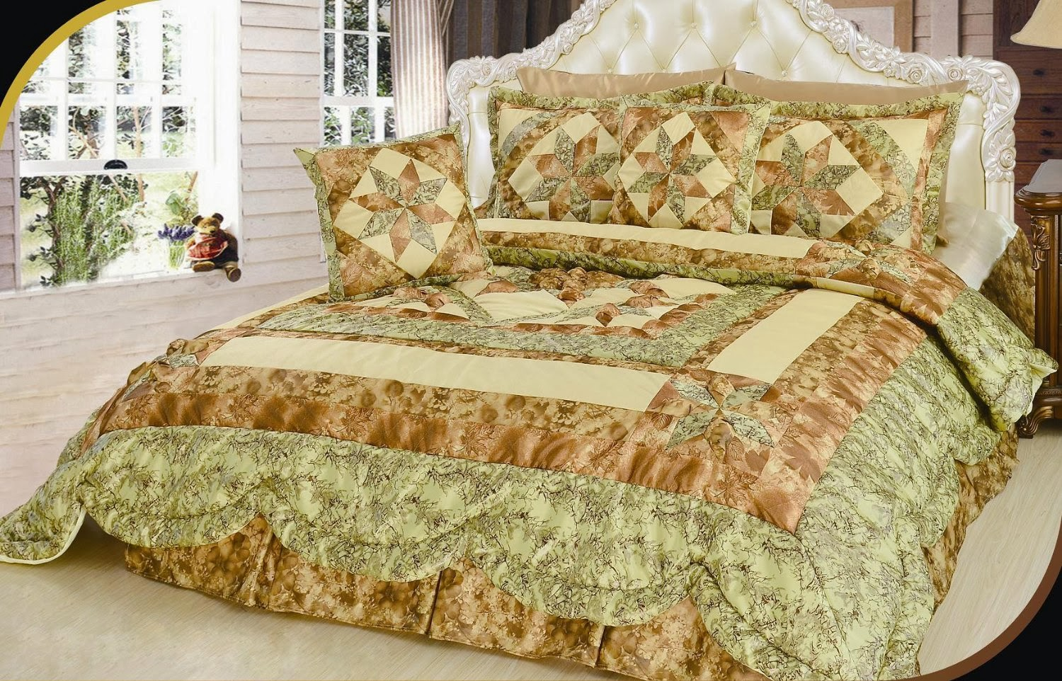 DaDa Bedding BM6118L 1 New Beige Runway 3 Piece Quilt Set  Twin. Red and Beige Cream Bedding   Ease Bedding with Style