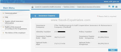CCHI medical Insurance Expiry Date Saudi Arabia