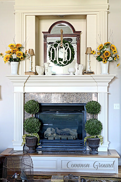 Common Ground- Sunflower Summer Mantel-Treasure Hunt Thursday- From My Front Porch To Yours