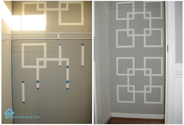 Geometric design on wall made with tape