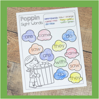 popcorn sight words worksheets