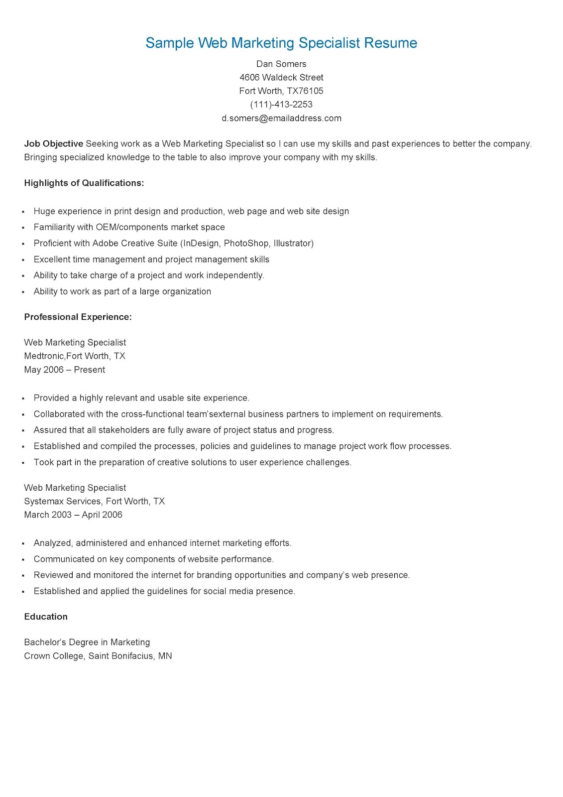 Resume Samples Sample Web Marketing Specialist Resume