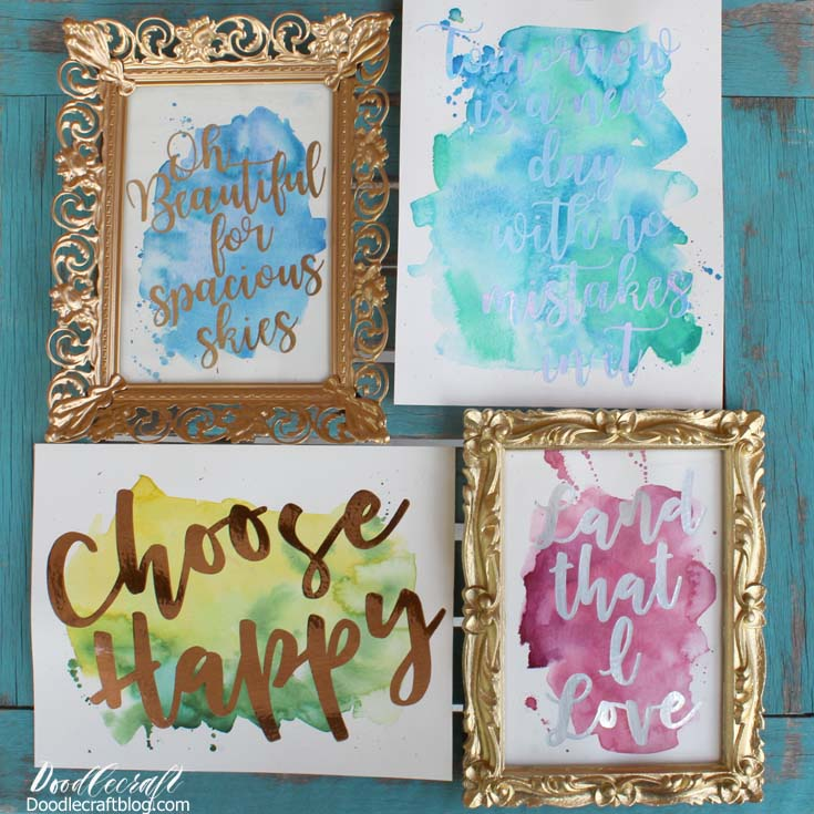 Doodlecraft watercolor vinyl calligraphy cricut explore air