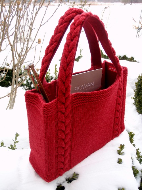 Braided Cable Handle Tote - Free Pattern
