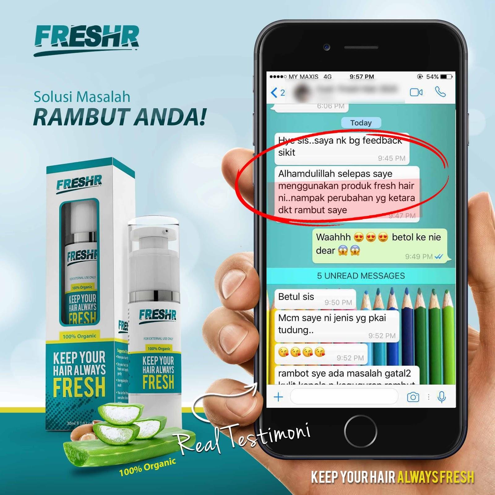FreshR Serum Rambut Organik Pelindung Terbaik Untuk Rambut Sihat ... cf4e0cc1a9