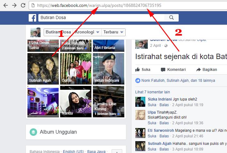 Cara Melihat ID Status Facebook