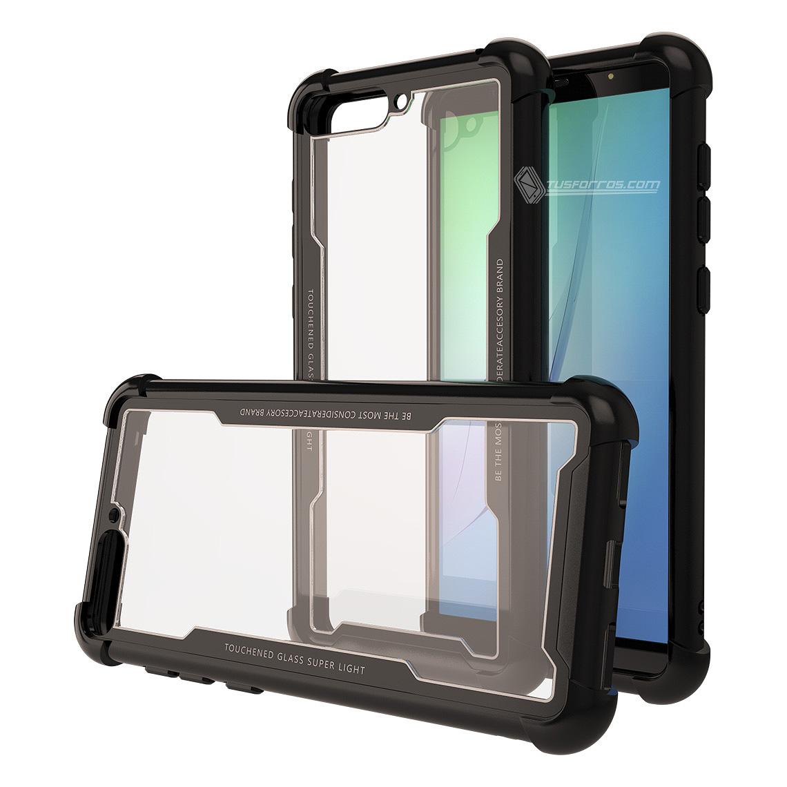 Huawei Y6 2018 Forro Anti-Shock Edge Black BackCover Cristal Clear
