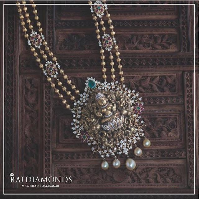 Beads Haram Round Diamond Lakshmi Pendant