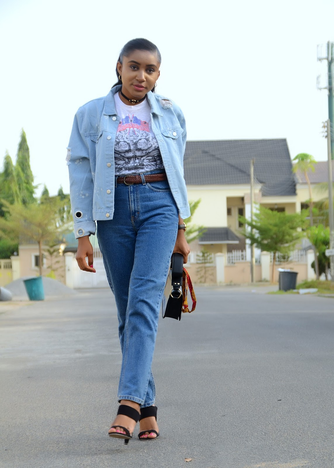 mom jeans, denim jacket and mules