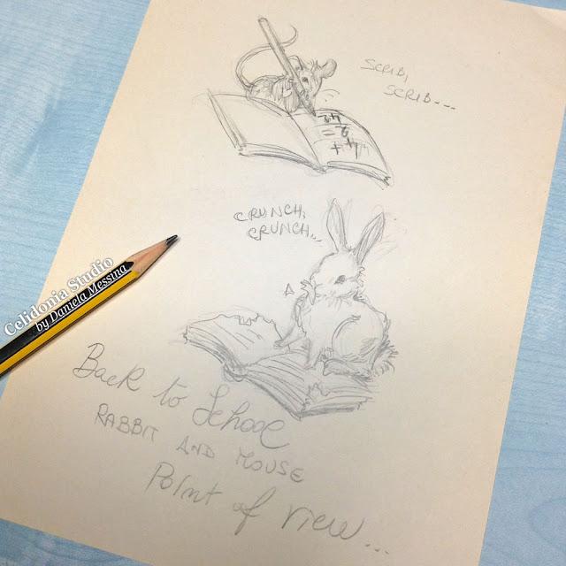 Schizzo per Coniglietto e Topino in scala 1/12 - Back to School Project