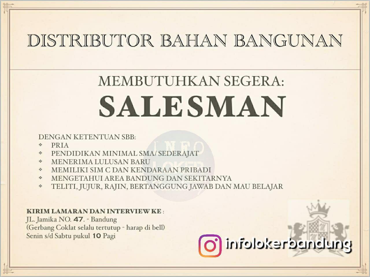 Lowongan Kerja Salesman Distributor Bahan Bangunan Bandung November 2018