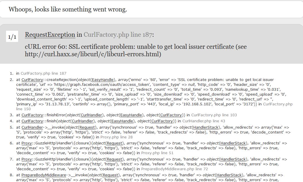 Laravel 5 Tutorial : cURL error 60: SSL certificate problem: unable ...