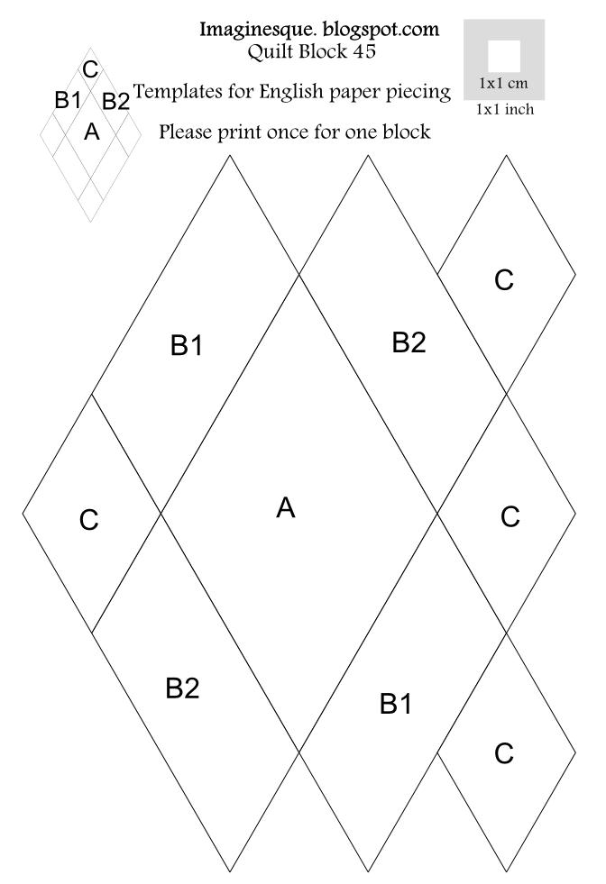 imaginesque  quilt block 45  pattern  u0026 templates for
