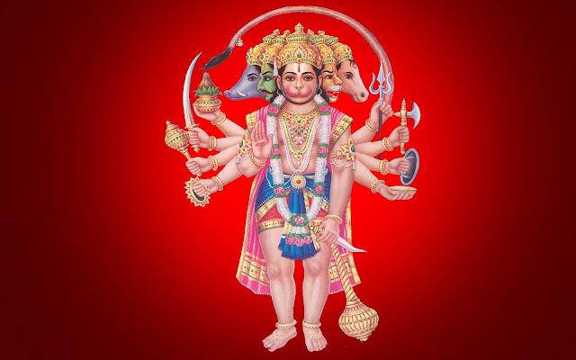 Best God Hanuman Panchamukhi HD Wallpaper In Red Background