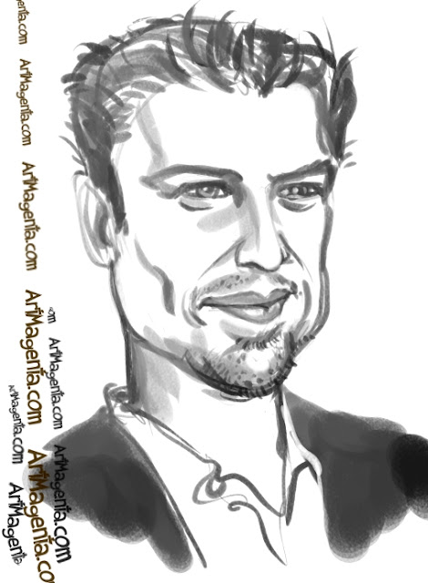 Leonardo Dicaprio  caricature cartoon. Portrait drawing by caricaturist Artmagenta.