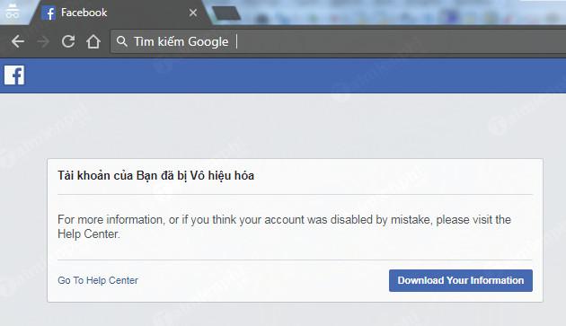 mở khóa tài khoản Facebook bị vô hiệu hóa, Disable, gửi ID