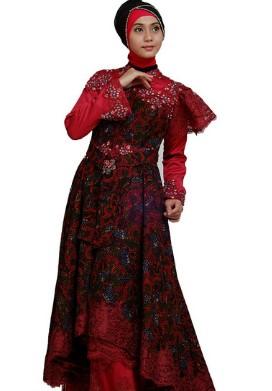 Model Baju Muslim Kombinasi Batik Dengan Kain Polos Brokat Dan