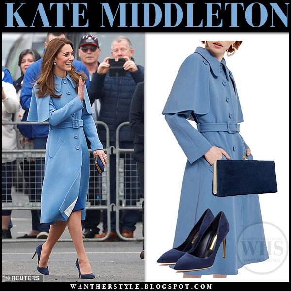 b4269775a64 Kate Middleton in pale pastel blue cape detail wool Mulberry coat and navy  suede Rupert Sanderson