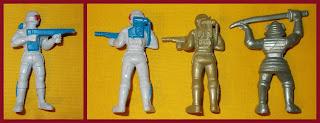 Astronauts; China F21; Hong Kong Copies; Made in Hong Kong; Mattel; Mattel International; MI 1987; Ninja Capsule Toy; Ninja Fighters; Ninja Warriors; PVC Figurines; PVC Vinyl Rubber; Samurai; Small Scale World; smallscaleworld.blogspot.com; Space Warriors; Spaceman; Spacemen;