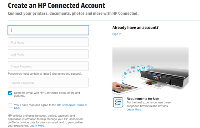 Step 1: Create an HP Connected Account