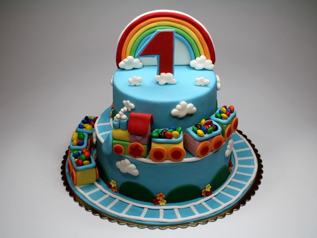 Rainbow Train Children Birthday Cake London