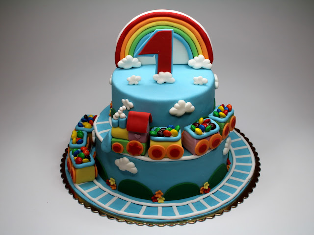 Rainbow Train Children Birthday Cake London