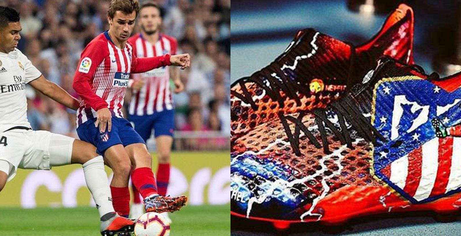 4f2cdfa36 Antoine Griezmann stood out in yesterday s clash between Real Madrid and  Atletico Madrid wearing extreme-looking football boots.