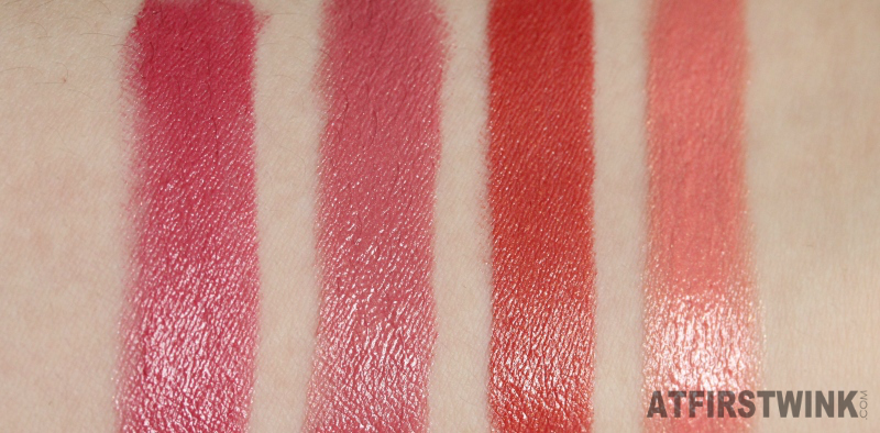Peripera lipsticks 10, 15, 18, and 21 orange red pink fuchsia swatches
