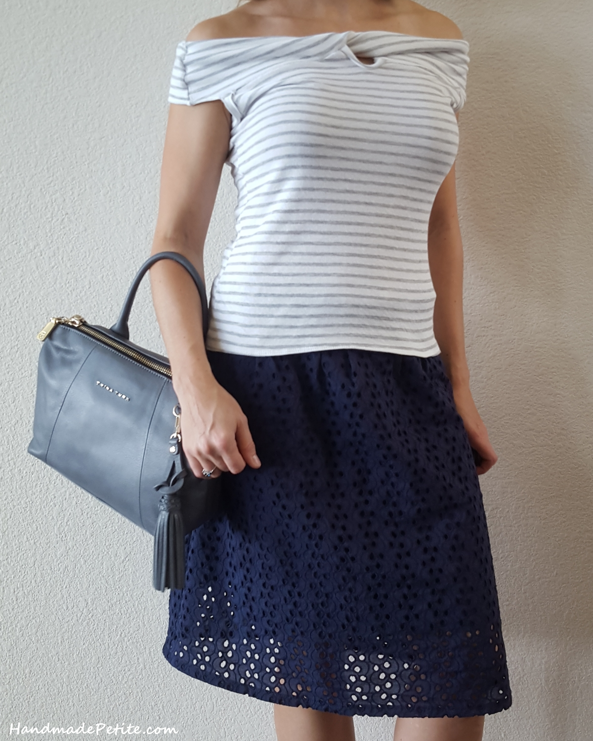 Handmade outfit - knit striped twist top and eyelet knee length skirt