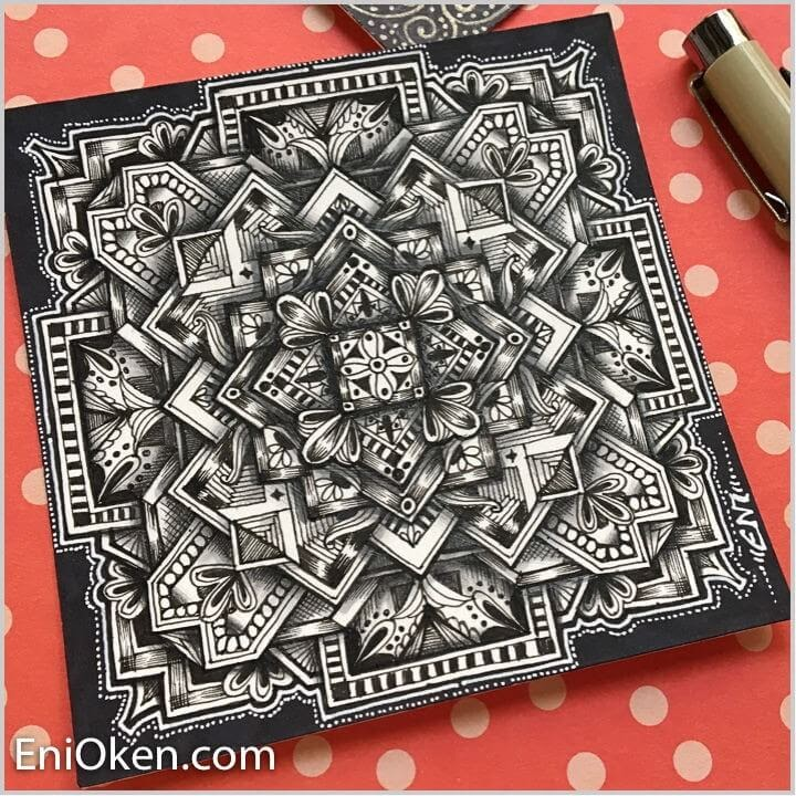 01-Square-Medallion-Eni-Oken-Ink-and-Pencil-Fantasy-and-Zentangle-Drawings-www-designstack-co
