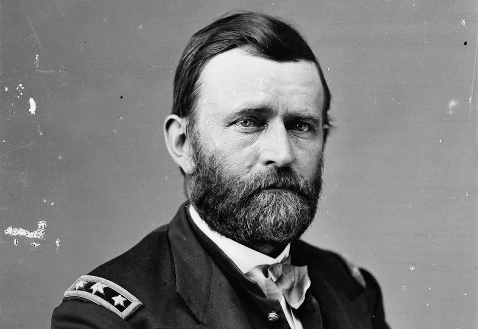Union General Ulysses S. Grant served as Commanding General of the Army during the Civil War. After the war, his popularity in the North helped him to win the U.S. presidency in 1868, and again in 1872.