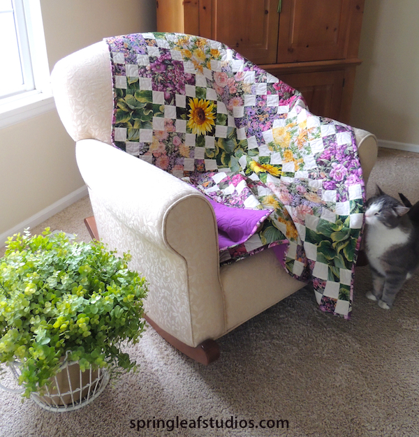 floral Irish Chain quilt by Springleaf Studios