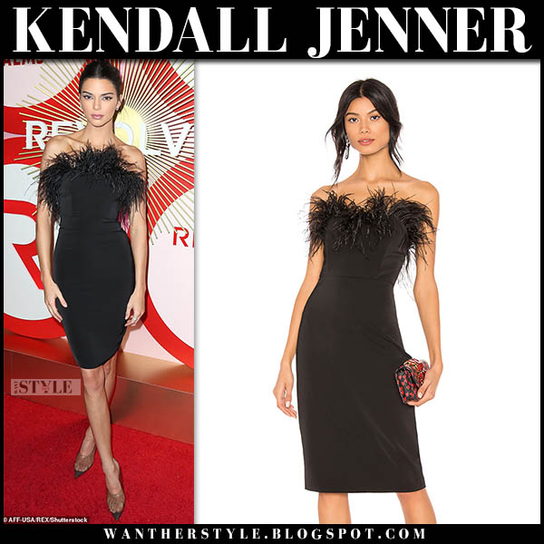 Kendall Jenner in black strapless feather trimmed pencil lpa dress red carpet style november 9