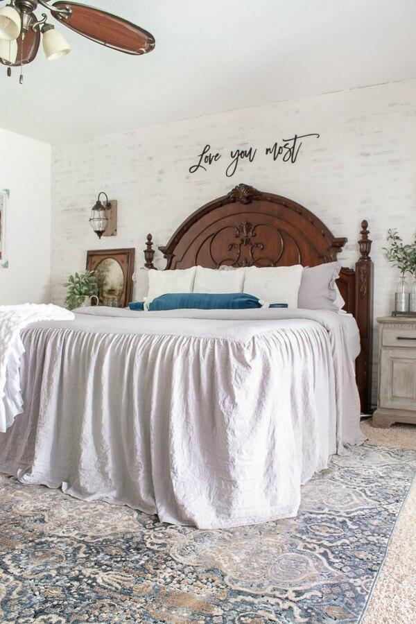 ruffled bedspread in Master bedroom