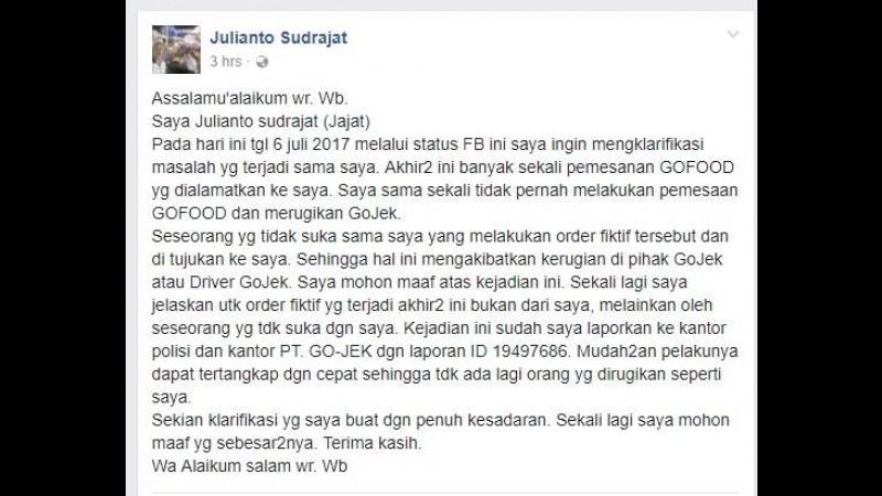 Klarifikasi Julianto Sudrajat, korban order fiktif GoFood