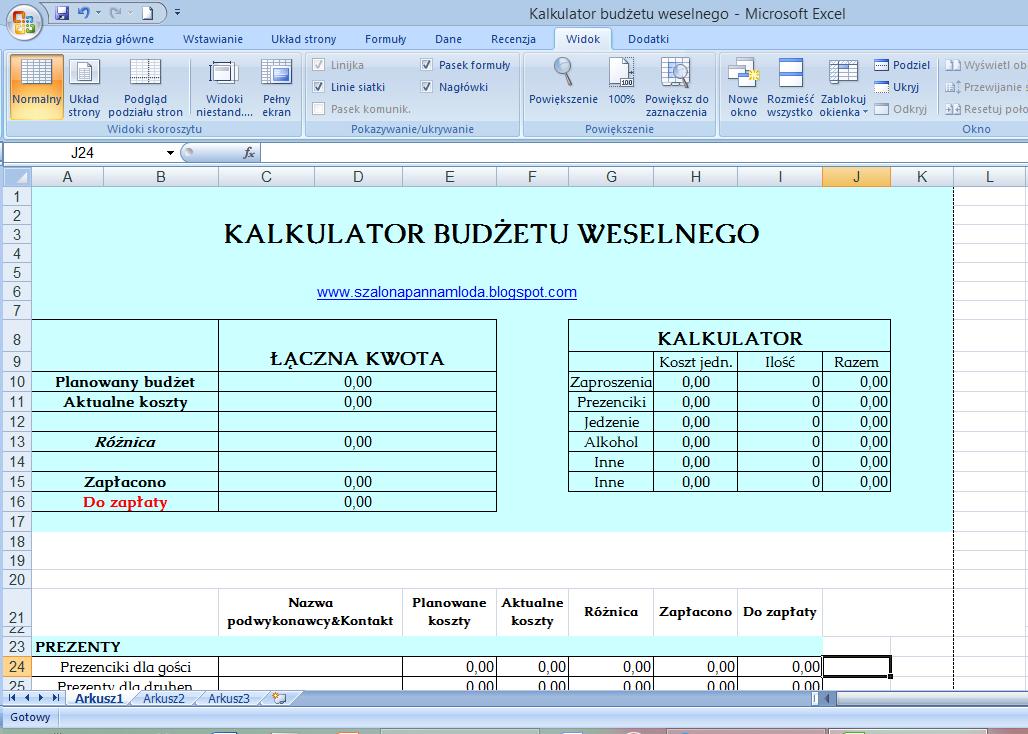 Kalkulator budżetu weselnego