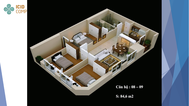 Thiết kế căn 08 - 09 diện tích 84,6m2 Icid Complex